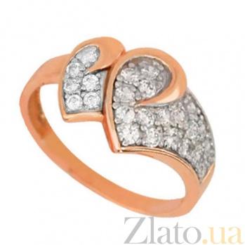 Золотое кольцо Два сердца с фианитами VLT--Е1478