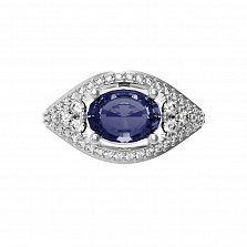 Серебряное кольцо Лавина с сапфиром и фианитами