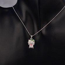Серебряный кулон Hello Kitty с фианитами, красной и зеленой эмалью