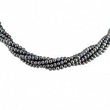 Ожерелье Таура из 5 нитей черного жемчуга с серебряной застежкой