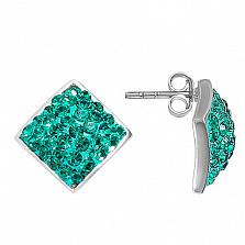 Серебряные серьги с кристаллами Сваровски Ромб