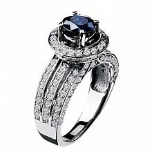 Золотое кольцо с сапфиром и бриллиантами Мальта