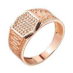Перстень-печатка из красного золота с цирконием 000140449