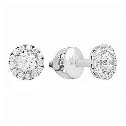 Серебряные серьги-пуссеты Солнышко с белым цирконием, 7мм 000031126