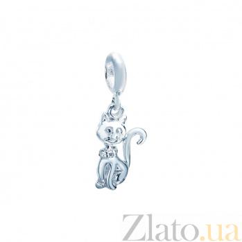Серебряная бусина с фианитами Кошечка 000027012