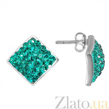 Серебряные серьги с кристаллами Сваровски Ромб 10030111