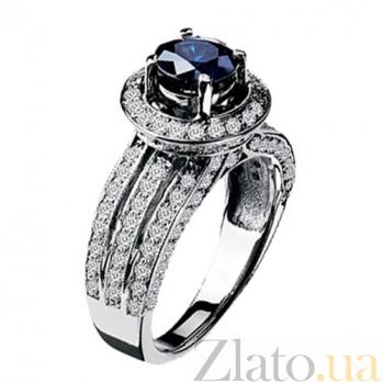 Золотое кольцо с сапфиром и бриллиантами Мальта KBL--К1521/бел/сапф
