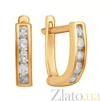 Серьги из красного золота Дормео с белым цирконием TRF--212227