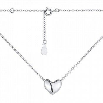 Срібне кольє з підвіскою-сердечком 000140018