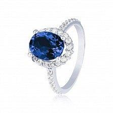 Кольцо в белом золоте Альда с синим корундом и фианитами