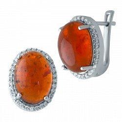 Серебряные серьги с янтарем и фианитами 000128526