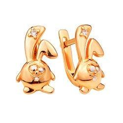 Золотые серьги Зайчик-смешарик Крош в комбинированном цвете с цирконием