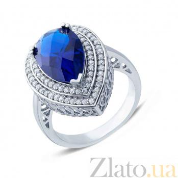 Серебряное кольцо с большим синим цирконом Ария AQA--SJT-704-RS