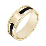 Перстень в желтом золоте Респектабельность с эмалью