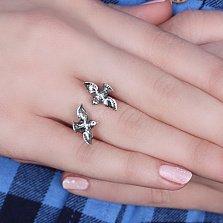 Серебряное разомкнутое кольцо Птахи с чернением