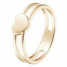 Кольцо Сердце в желтом золоте