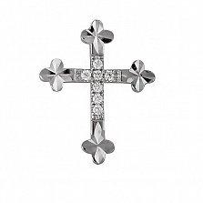Крестик из белого золота Ариэль с бриллиантами