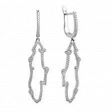 Серебряные серьги-подвески Контур с белыми фианитами