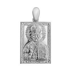 Серебряная прямоугольная ладанка Святой Николай Угодник с узором по периметру