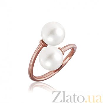 Позолоченное кольцо из серебра с жемчугом Саида 000028180