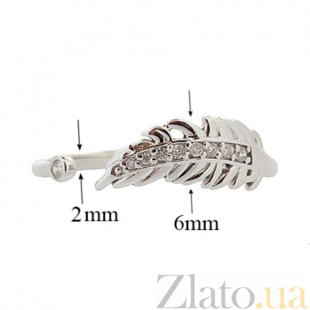 Серебряное кольцо с бриллиантами Пёрышко 000022212