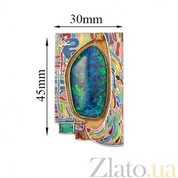 Серебряная брошь-подвес Сказочные узоры с опалом, миксом камней, позолотой и эмалью 000055017