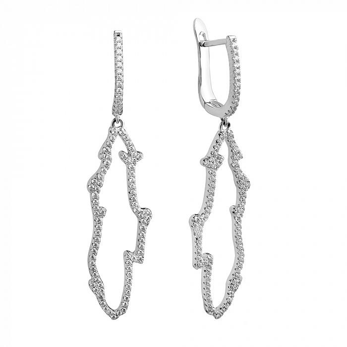 Серебряные серьги-подвески Контур с белыми фианитами 000078425