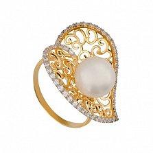 Кольцо из желтого золота Афродита с жемчужиной и фианитами