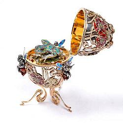 Дизайнерское серебряное яйцо с изумрудами, бриллиантами, сапфирами, эмалью и позолотой 000004302