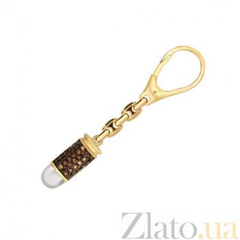 Золотой брелок Пуля для оружия в комбинированном цвете с коньячными фианитами VLT--Т39902-1