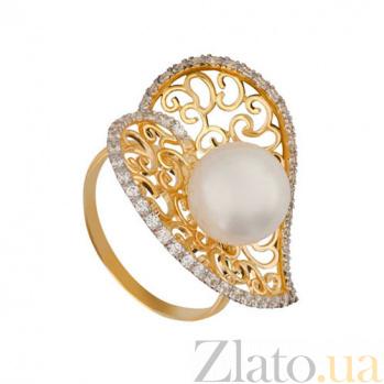 Кольцо из желтого золота Афродита с жемчужиной и фианитами VLT--ТТ1149