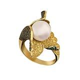 Кольцо из желтого золота Ундина с жемчужиной и фианитами