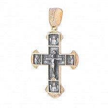 Серебряный крестик Святое Воскресенье с позолотой