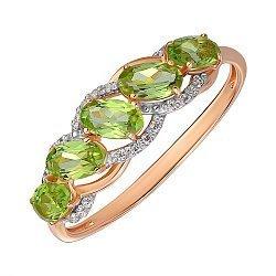 Кольцо из красного золота с хризолитами и фианитами 000141450