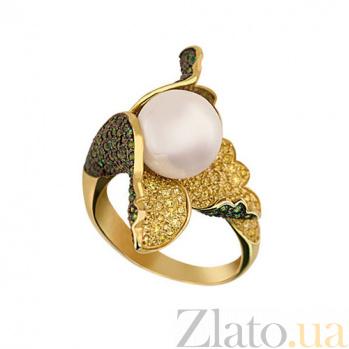 Кольцо из желтого золота Ундина с жемчужиной и фианитами VLT--ТТ1099-1