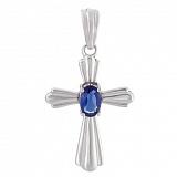Серебряный крест с синим фианитом Амулет