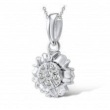 Золотой кулон Граделия в белом цвете с цветком и бриллиантами