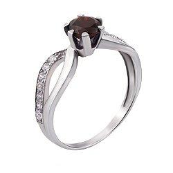 Серебряное кольцо Дина с узорной шинкой, гранатом и фианитами
