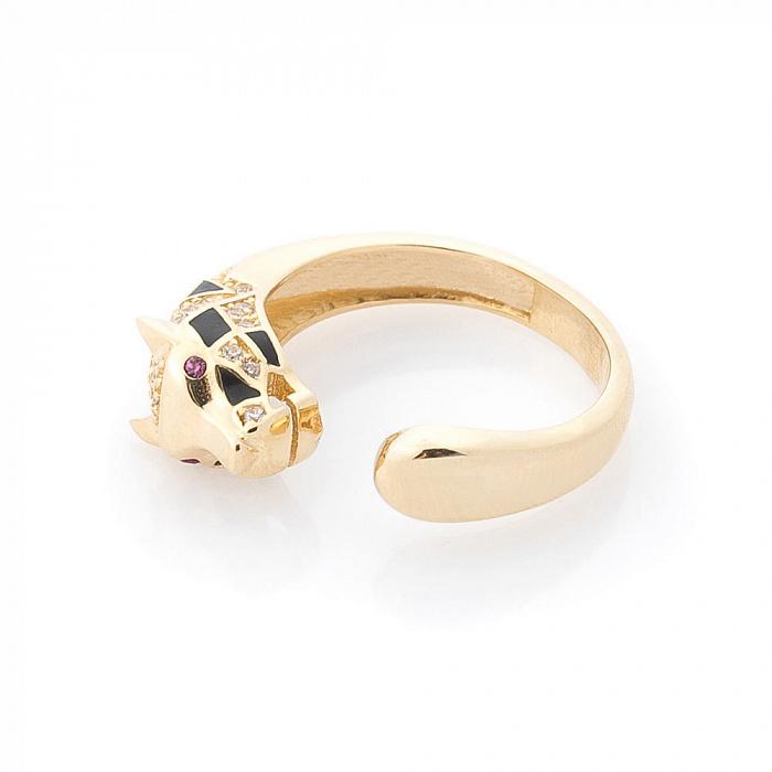 Золотое кольцо Кэт в желтом цвете в стиле Пантера под Картье с фианитами и черной эмалью 000082402