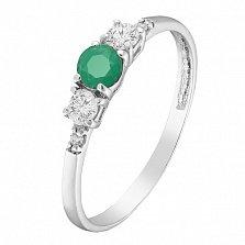 Серебряное кольцо Танита с зеленым агатом и фианитами