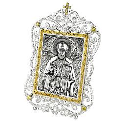 Серебряная икона с желтыми фианитами и позолотой Николай Чудотворец 000004067