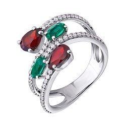 Серебряное кольцо с гранатами, кристаллами зеленого кварца и фианитами 000063379
