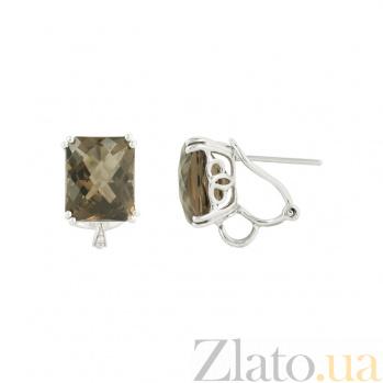 Золотые серьги с раухтопазами и бриллиантами Ирена 1С034-0881