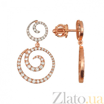 Серьги Диолетта из красного золота VLT--ТТТ2513