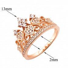 Золотое кольцо-корона Королева сердца в красном цвете с фианитами