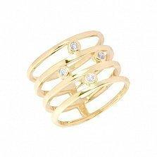 Широкое кольцо из желтого золота с фианитами Дарлин