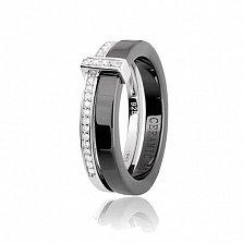 Кольцо из серебра и черной керамики Мельбурн с фианитами