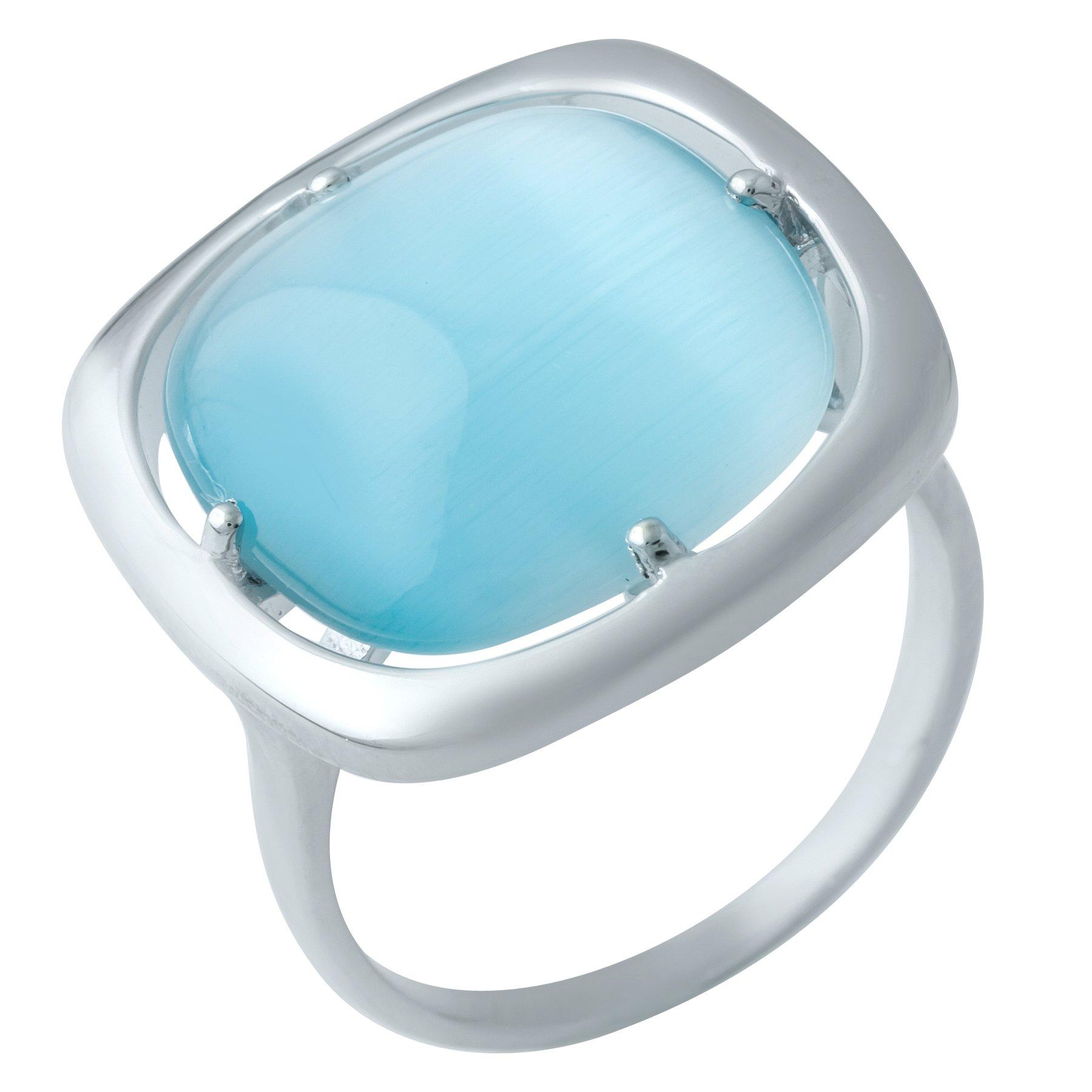 Серебряное кольцо Лея с голубым кошачьим глазом