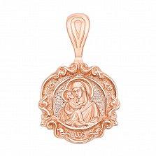 Золотая ладанка Матерь Божья в красном цвете с фактурной поверхностью