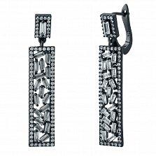 Серебряные серьги-подвески Бригетта с фианитами и черным родием